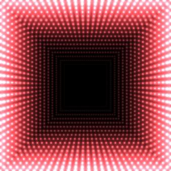 Espelho led quadrado abstrato. luzes vermelhas acesas desaparecendo no centro.