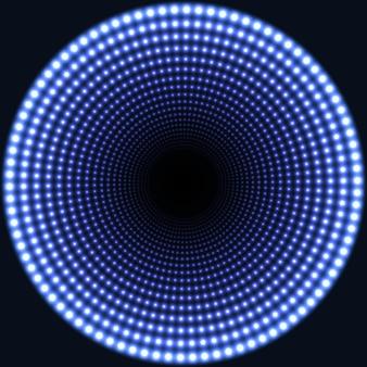Espelho led redondo fundo abstrato. luzes azuis ardentes desaparecendo no centro.