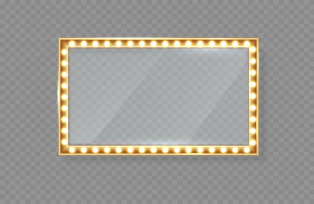 Espelho no quadro com luzes brilhantes com luz para maquiagem.