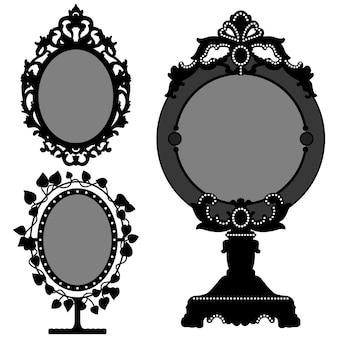Espelho ornamentado vintage retro princesa. 3 espelho princesa.
