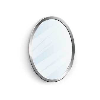 Espelho oval clássico com moldura de prata brilhante