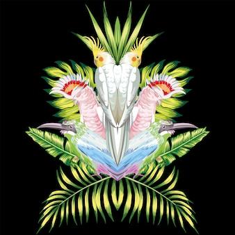 Espelho papagaio tropical deixa preto