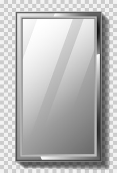 Espelho retângulo realista com estrutura de metal em fundo transparente