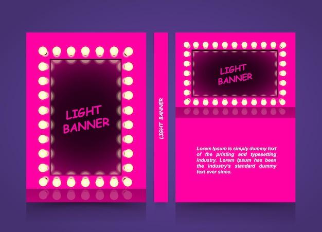 Espelho rosa com lâmpadas, banner leve de moda, moldura quadrada de elemento de design de apresentação retrô brilhando com lâmpadas, papel tamanho a4, ilustração vetorial