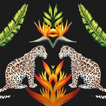Espelho tigresa tropical flores e folhas
