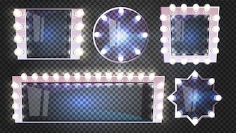 Espelhos de maquiagem com ilustração de lâmpadas no quadro retrô quadrado branco, redondo e forma de estrela
