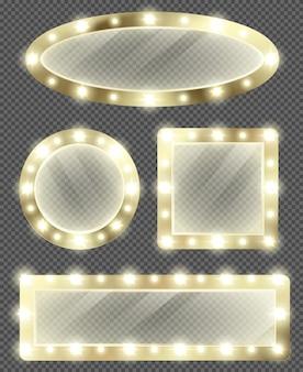 Espelhos de maquiagem em moldura dourada com lâmpadas