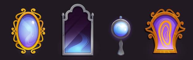 Espelhos mágicos em moldura dourada e prateada