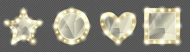 Espelhos quebrados de maquiagem dourada com lâmpadas