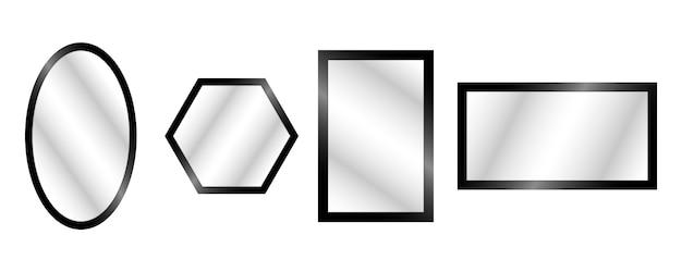 Espelhos realistas de vetor definido com reflexão embaçada.
