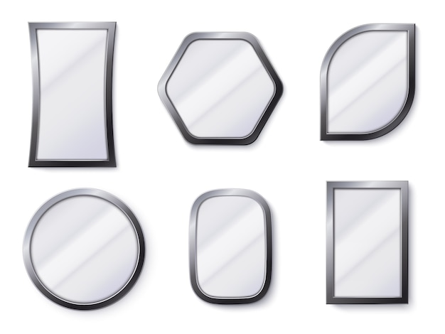 Espelhos realistas. superfície de espelho reflexivo no quadro, espelhamento de vidro e espelho redondo 3d isolado de ilustração vetorial