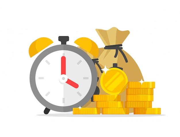Espera financeira ou prazo de pagamento da transação com cronômetro de dinheiro