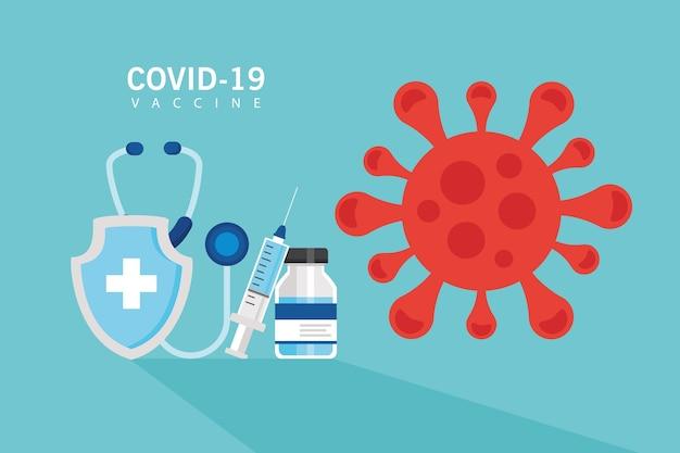 Esperança de vacina covid19 com design de ilustração vetorial de seringa e estetoscópio