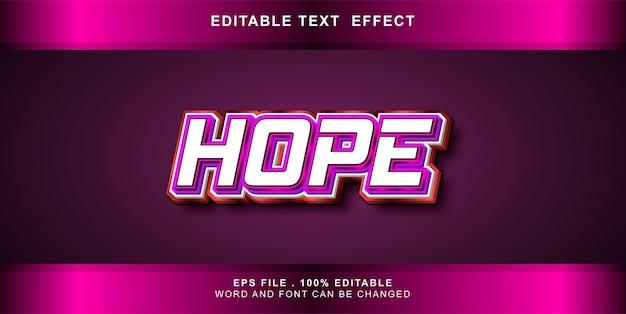 Esperança editável de efeito de texto