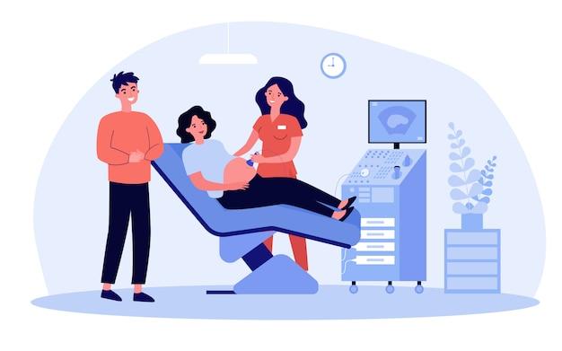 Esperando casal visitando médico para teste de ultrassom