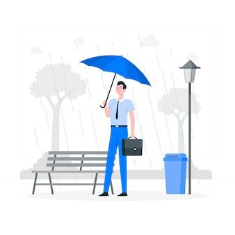 Esperando na ilustração do conceito de chuva