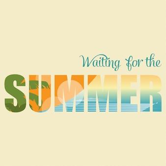 Esperando o verão, lettering estilo retro