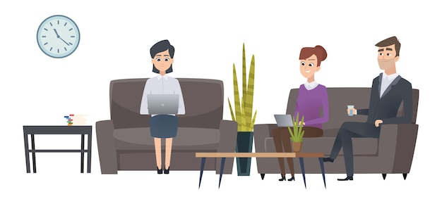 Esperando pessoas. sala de espera de homens e mulheres. personagens de empresários