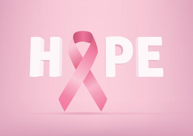 Espero que letras com fita rosa, conscientização do câncer de mama.