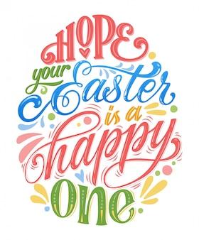 Espero que sua páscoa seja feliz - mão desenhada letras de páscoa