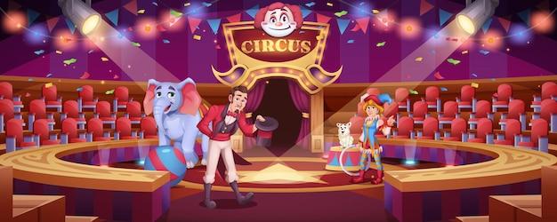 Espetáculo de circo com tratador de animais e mulher palhaço
