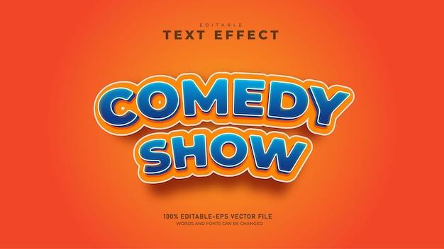 Espetáculo de comédia engraçada vetor premium com efeito de texto 3d editável