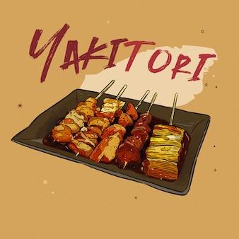 Espetos yakitori mão desenhada, comida japonesa.