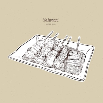 Espetos yakitori mão desenhada, comida japonesa