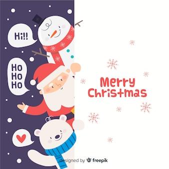Espiando fundo de personagens de Natal