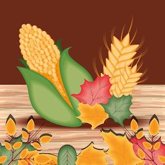Espiga com folhas para o dia de ação de graças