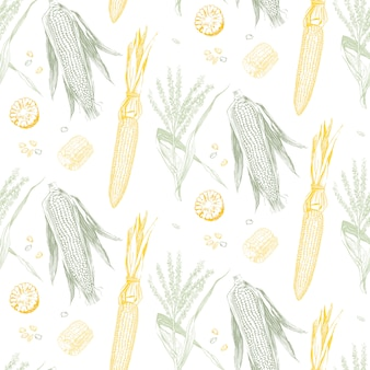 Espiga de milho padrão sem emenda de design vintage.