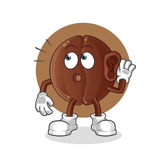 Espionagem do grão de café. personagem de desenho animado