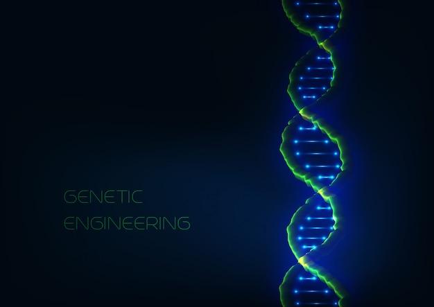 Espiral de incandescência abstrata da estrutura do adn 3d na obscuridade do modrn - fundo azul.