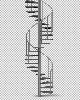 Espiral de metal, vetor realista de escada helicoidal