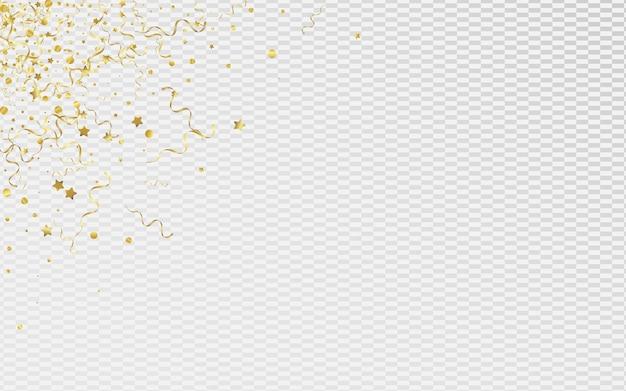 Espiral dourada comemora o fundo transparente. convite de fita de celebração. modelo de estrelas voando. cartaz abstrato amarelo.