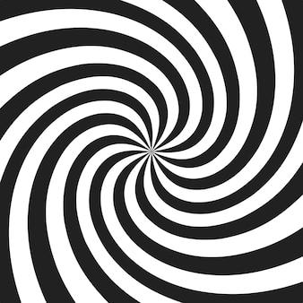 Espiral psicodélica com raios radiais cinza. fundo retrô torcido redemoinho. ilustração de efeito em quadrinhos.