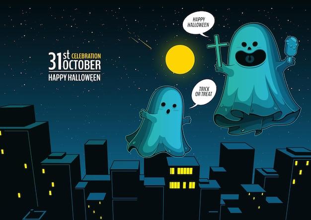 Espírito fantasma voando na cidade feliz dia das bruxas fantasmas assustadores desenho bonito dos desenhos animados