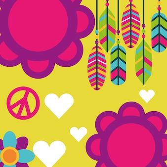 Espírito livre flores penas amor corações boho retrô