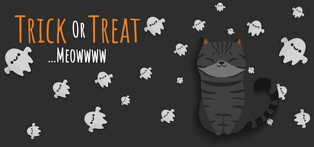 Espírito preto de gato e fantasmas voadores ao redor com letras trick or treat banner
