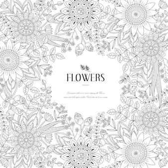 Esplêndida página para colorir com moldura de flores em estilo requintado