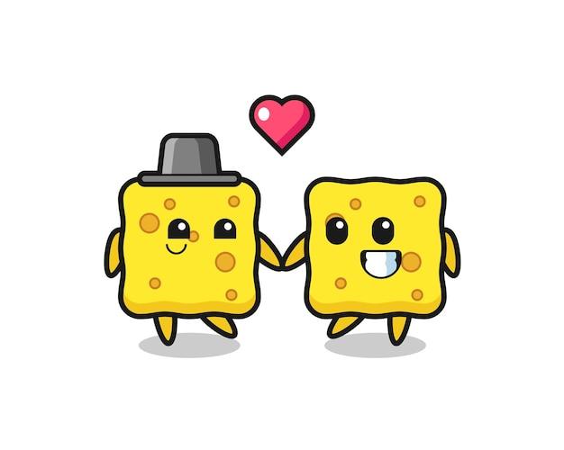 Esponja casal de personagens de desenhos animados com gesto de amor, design de estilo fofo para camiseta, adesivo, elemento de logotipo