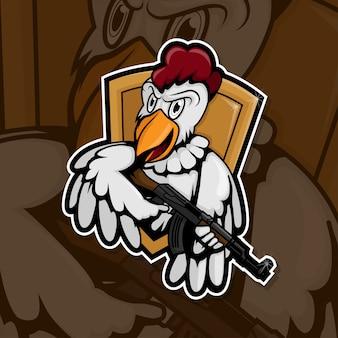 Esport gamer logo chicken army