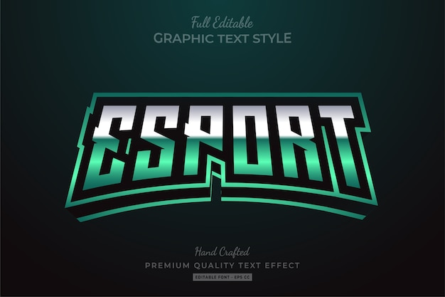 Esport green editable text style effect premium
