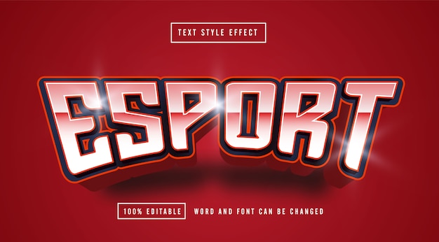 Esport red text style effect editável