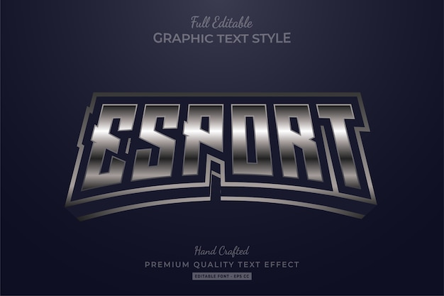 Esport silver editable text style effect premium