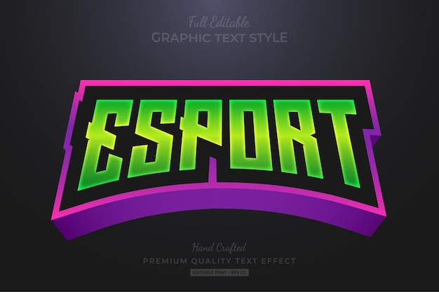 Esport team gradient green purple editable text effect font style