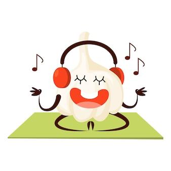 Esporte alho meditando e ouvindo música no ginásio. fruta com cara, personagem feliz. alho engraçado. ilustração