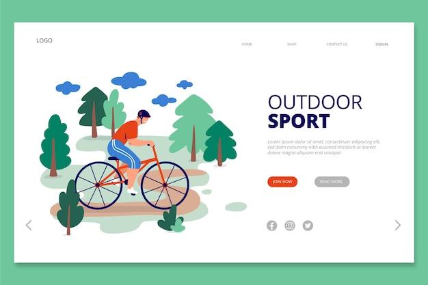Esporte ao ar livre da página de destino do modelo