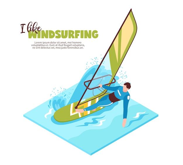 Esporte aquático isométrico com windsurfista a bordo com vela e texto que eu gosto de windsurf