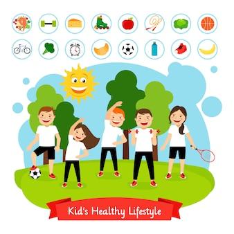 Esporte atividade de verão para crianças.